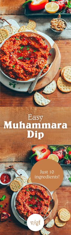 DELICIOUS Gluten-Free Muhamarra Dip! Flavorful, healthy, 10 ingredients required! #vegan #glutenfree #plantbased #muhamarra #dip #minimalistbaker #recipe