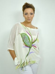 OVERSIZED linen blouse/ Assymetrical top / Handmade Nunofelt blouse /  Merino wool / cool wool blouse / Lavender, raspberry, green