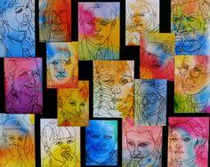 watercolor wash behind some contour line portraits