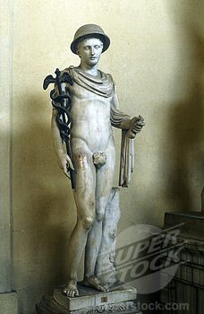 Stock Photo #1746-1482, Hermes, Greek god (Mercury in Roman pantheon) messenger of the gods, god of roads and travellers, holding his caduce...