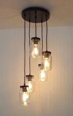 Mason Jar 5-Light Pendant Chandelier New Quart Clear - Mason Jar Light Fixture - The Lamp Goods - 2