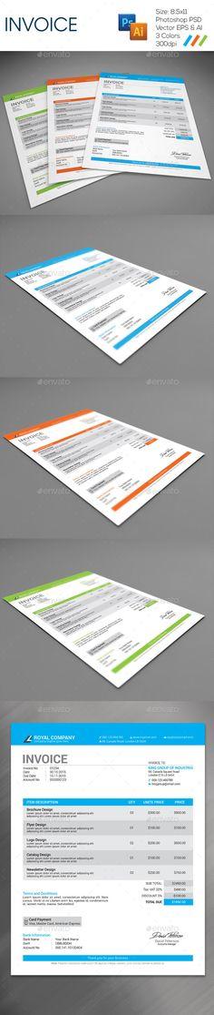 Invoice Template | #invoice #invoicetemplate #invoicedesign | Download: http://graphicriver.net/item/invoice/9328626?ref=ksioks