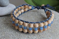 Wooden Beaded Bracelet for Women Leather by MoniqueUniquely