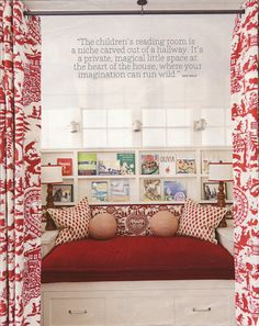 """""""Belclaire House: Suzeday Tuesday: Children's Rooms and Bunk Rooms"""" -- This is the only true reading nook at the click-through, but there are several curtained bunk beds with shelves and lights that simply demand curling up with a book!"""