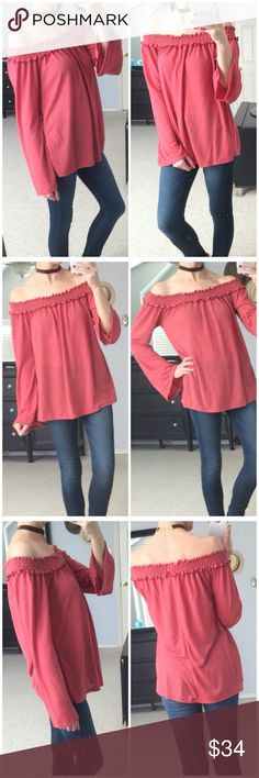 """LAST DAY ON POSH▫Red Off Shoulder Long Sleeve Gorgeous and unique color-sunset red! Off shoulder long sleeve top. Very soft with great stretch! Love the bunching on the neckline, too! Modeling small. 70% rayon 30% polyester. Measurements as follows: Bust: (S) 15"""" (M) 16"""" (L) 18"""" Length: (S) 25"""" (M) 25.5"""" (L) 26"""" *Bundle 2+ items for discount. Tops Tees - Long Sleeve"""