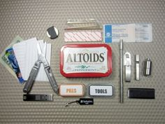 """Urban Altoids Survival Tin (v2.0) """"A mini survival kit is a small survival kit which consists of the most essential outdoor survival tools and supplies which are the hardest to improvise or replace. A mini survival kit is intended to be carried along all the time and is usually designed to complement other survival tools carried along in a larg..."""