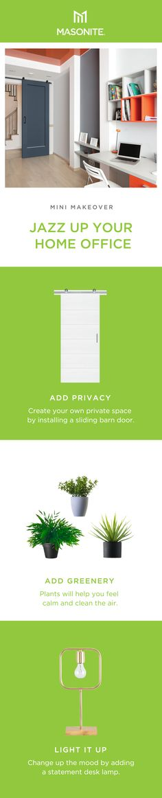 Instantly transform a room, adding functionality and character to any space with Masonite Complete Barn Door Kits. Learn more about sliding barn doors and how to install one in your home. Diy Barn Door, Private Room, Interior Barn Doors, Desk Lamp, Home Office, Greenery, Floor Plans, Door Kits, Eye Strain