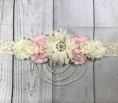Beautiful High Quality Handmade Maternity Sash! Maternity Sash. Baby Shower Sash. Its a Girl Sash. Gender Reveal Sash. Belly Sash. Pregnancy Sash. Maternity Photo Prop. Gorgeous Vintage Beauty Maternity Sash. Whether Pregnant, Getting Married, Flower Girl or Just Because Its