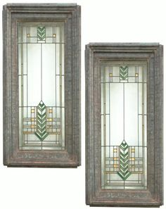 "Arthur Heun - Pair of Leaded Glass Light Screens from the Sedgwick Brinsmaid House, Des Moines Iowa. Executed by Gianni and Hilgard, Chicago, Illinois. (They also produced work for Frank Lloyd Wright). With an Arrow Motif in Green, Yellow, and Gold-Leaf on Clear Glass ground. Mounted in original Zinc Frames. 46"" x 22"" x 6""."