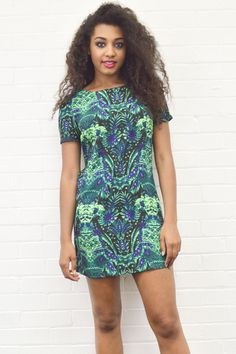 **BRAND NEW** Our Alia Mirror Print Shift Dress In Green! We are majorly obsessing over this mirrored print - It gives a tough edge to this pretty shift dress! Get yours now by visiting our website - www.girlinmind.com/new/alia-green