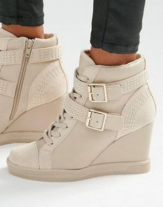 Find the best selection of ALDO Wedge Heel Strap Sneakers. Shop today with free delivery and returns (Ts&Cs apply) with ASOS! Wedge Heel Trainers, Nike Wedge Sneakers, High Heel Sneakers, Sneaker Heels, Wedge Heels, High Heels, Sneakers Fashion, Fashion Shoes, Emo Fashion