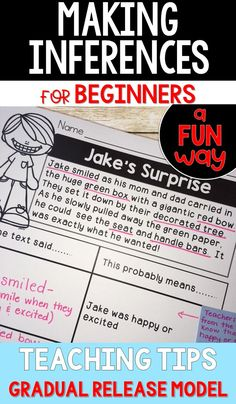 Making Inferences for beginners. Using a backward approach, young students are able to make inferences more easily. The teacher uses the gradual release model to help students master this difficult skill. Reading Lessons, Reading Resources, Reading Activities, Guided Reading, Early Reading, Math Lessons, Teacher Resources, Comprehension Strategies, Teaching Strategies