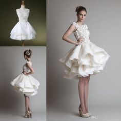 discount wolesale fasion organza ruffle short casual wedding in casual wedding dresses for winter