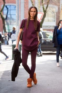 A monochrome burgundy outfit, spotted on Joan Smalls, is an on-trend fall outfit we love. Click for more trends to try if you live somewhere warm