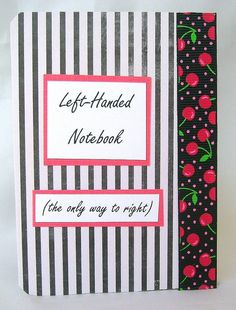 Lefty note book Left handed notebook Lefty by designedbymarylou