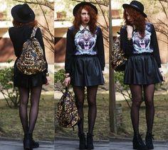 Backpack, Blouse, Hat