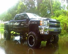 Jacked up. Chevy. Truck yeah.