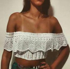 Crochet off the shoulder top -- designer unknown