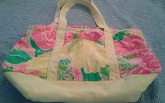 Lilly Pulitzer Floral Canvas Tote  Beach Bag Purse Roses #LillyPulitzer #TotesShoppers