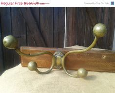 ON SALE Antique Victorian 1800s Rare Hunter Coat Rack -  Solid Brass 8 Hook Hangers on Wood - French - Screwed Balls