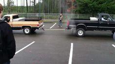 Ford vs. Chevy Truck Pull (Ford Wins!). Hahahahaha!