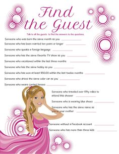 """Bridal Shower Game """"Find the Guest"""""""