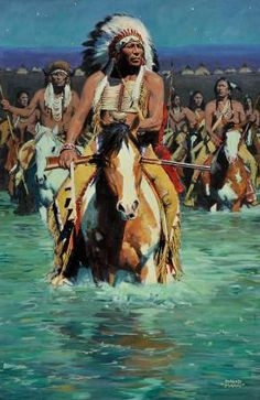 View Cheyenne Crossing by David Mann on artnet. Browse upcoming and past auction lots by David Mann. Native American Horses, Native American Warrior, Native American Pictures, Native American Artwork, Native American Beauty, American Indian Art, Native American History, American Indians, Pop Art