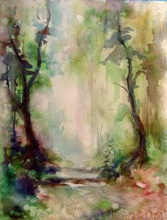 "Two paintings in one, watercolor on paper of tree lined lane and on verso another mysterious forest scene. Signed ""A. Brewer"" lower left. Unframed. Age toning, small repair along center left margin. 1"