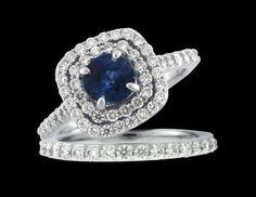 Sapphire and Diamond Engagement Ring  www.facebook.com/ozcaninc.