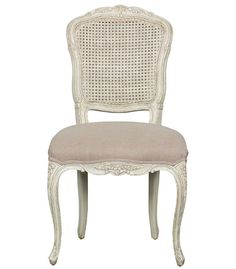 """Louis XV"" CHATEAU French Provincial Dining Chair - French Taupe & Cottage White"