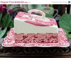 Masons Vista Red Pink Ware Cheese Keeper - Antique Butter Dish