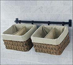 The longer bar, the baskets on each end, Plus s hooks for coats. Perfect for the entry with no closet.