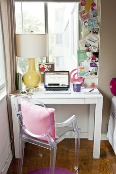 Cupcakes for Breakfast - bedrooms - Altra Parsons White Laptop/Writing Desk, Louvre Yellow Table Lamp, bedroom office, bedroom home office, ...