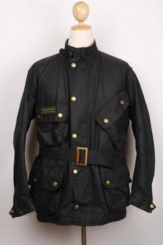 Mens BARBOUR International Suit Belted WAX Jacket Navy Size 42