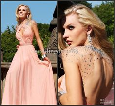 Wholesale Evening Dresses - Buy New Elegant Jewel Beads Cap Sleeves Backless A Line Pleat Chiffon Sweep Train Evening Dresses Party Gown Prom Dress S1060, $125.0 | DHgate