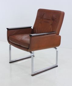 Anonymous; Leather, Rosewood and Brushed Steel Armchair by Vatne Mobler, 1960s.