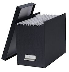 Johan File Box - it has a handy metal pull bracket so that you can pull it off the shelf easily. A great way to get organized.