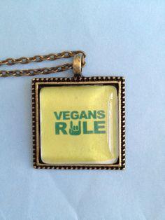 Vegan Pendant Necklace by joytoyou41 on Etsy, $20.00