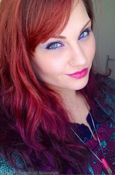 I generally don't care for ombre hair but I'd definitely rock this style. Red to purple tips. <3 sooo gorg.