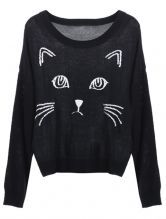 Black Embroidered Cat Round Neck Loose Sweater $69
