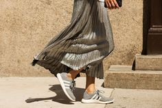 While these shiny pleats aren't ideal for running, the neutral Adidas kicks keep the option open. And, they look good with just about anything — from gymwear to streetwear.
