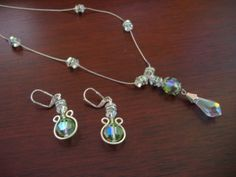 Sterling silver Necklace & earring set with Swarovski crystals