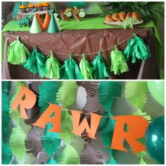 This dinosaur party theme can be customized in any colors and for any guest amount. Email me for your custom listing. Party includes: Three assembled 3D paper dinosaurs. 12 inch Brontosaurus, stegosaurus and TRex head mantel Backdrop Frills- set of 15 (6inches wide and 7 feet long) Up to 3 different custom colors RAWR Banner Tassel Banner (6 tassels-up to two custom colors) The following items in the guest amount selected: Cupcake toppers (RAWR and 3D 2inch round dinosaur variety)