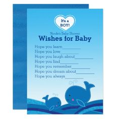Blue Whales Wishes for Baby Shower Game Card - baby gifts child new born gift idea diy cyo special unique design