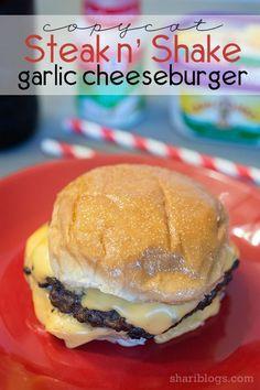 n' Shake Garlic Cheeseburger Copycat Steak n' Shake's Garlic Cheeseburger -- there's also a recipe for the garlic butter used on the burger.Copycat Steak n' Shake's Garlic Cheeseburger -- there's also a recipe for the garlic butter used on the burger. Meat Recipes, Cooking Recipes, Chicken Recipes, Grilled Hamburger Recipes, Cooking Pasta, Game Recipes, Barbecue Recipes, Apple Recipes, Cooking Tips