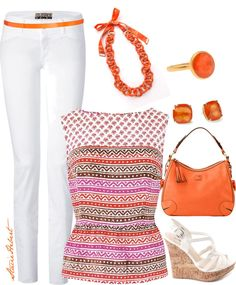 """Style White Jeans"" by staciegh ❤ liked on Polyvore"