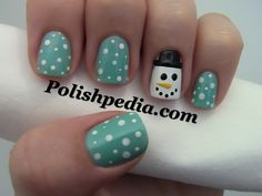These winter nails are so cute I would do my nails like this if I had the patients! Love Nails, How To Do Nails, Pretty Nails, Fun Nails, Style Nails, Christmas Nail Designs, Christmas Nail Art, Christmas Snowman, Christmas Snowflakes