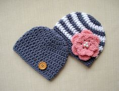 Newborn twins boy and girl hats Baby twin hats Crochet newborn hats for twin Boy Girl twin hats Twin photo props Twins baby gifts by LittleBabyProps on Etsy