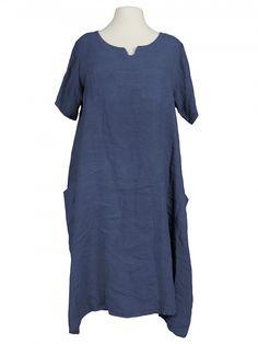 Damen Leinenkleid, blau von Spaziodonna bei www.meinkleidchen.de