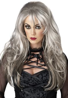 The Fallen Angle Grey Wig is a beautiful wig that accessorizes any Ghost Costume, Witch costume, Vampire Costume or an Angel Costume. Fallen Angel Halloween Costume, Dark Angel Costume, Halloween Wigs, Halloween Makeup, Halloween Ideas, Adult Halloween, Halloween 2017, Women Halloween, Costume Wigs